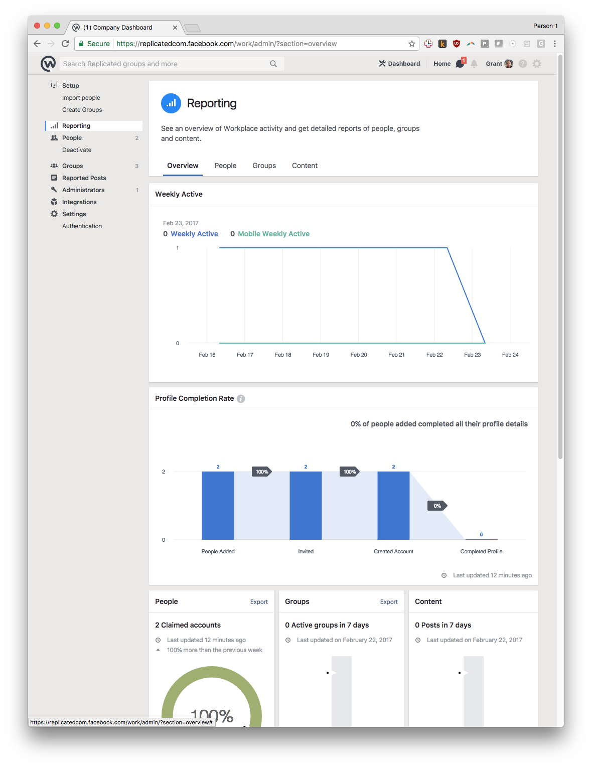 FB Workplace Reporting - Enterprise Ready Feature Breakdown
